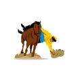 Horse game of Buzkashi Cartoon vector image
