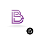 Letter B linear puzzle maze style logo vector image