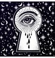 Mystic eye peeping through the keyhole vector image