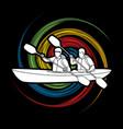 people kayaking kayaker sport team kayak boat vector image