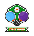table tennis colorful logotype with crossed vector image