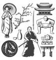 vintage japan elements set vector image