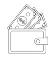 wallet with dollar bills icon vector image