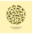 Yellow taxi cars in round shape vector image