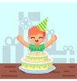 Happy sweet cute cartoon boy with birthday cake vector image
