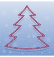 Falling snow Pink Sequins Christmas tree vector image