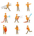 firefighters in orange uniform doing their job set vector image