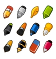 Writing and Drawing tools icon set vector image