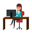 businesswoman working in computer vector image