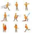 firefighters in orange uniform doing their job set vector image