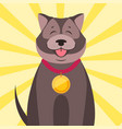 happy dog with medal cartoon flat vector image
