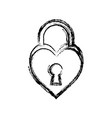 padlock in heart shape icon vector image