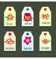 Flower tags with logo Set - Isolated On green vector image vector image