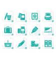 stylized business office and finance icons vector image