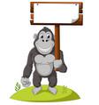 funny gorilla cartoon vector image