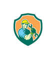 Mechanic Holding Spanner Wrench Shield Retro vector image