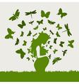 pregnant girl butterflies vector image