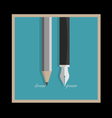 Stylized pencil and writing pen variation 1 vector image