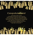 Background with gold gift boxes and text for vector image