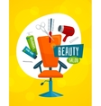 Beauty salon poster template hair care tools vector image
