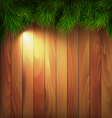 Christmas Tree Pine Branches with Light on Wooden vector image