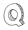 English alphabet - hand drawn letter Q vector image