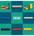Freight transportation icon set vector image