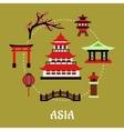 Japan architectural and cultural symbols flat vector image