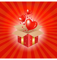 Red Gift Box And Hearts vector image