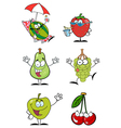 Funny Fruits Cartoon Character-Collection vector image vector image