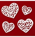 cut out paper lacy hearts vector image