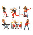funny cartoon characters in rock band musician in vector image