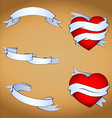 oldschool tattoo hearts and ribbons set vector image