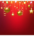 Red Card With Stars And Christmas Ball vector image vector image