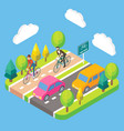 3d isometric bike route concept vector image