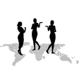 woman silhouette with hand gesture presenting vector image