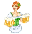 Beautiful Irish girl with beer vector image