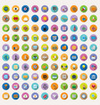 100 flat icons collection vector image vector image
