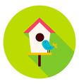 Birdhouse with Bird Circle Icon vector image vector image
