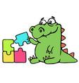 cute dinosaur assemble the puzzles vector image