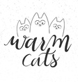 hand lettering text - warm cats vector image