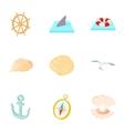 Ocean icons set cartoon style vector image
