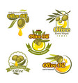 olive oil icons product label template set vector image vector image