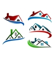Building symbols with home roofs vector image vector image