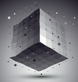 Abstract deformed monochrome cube with lines mesh vector image
