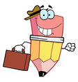 Pencil Cartoon Character Carrying A Briefcase vector image vector image