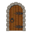Old wooden vintage doors isolated vector image