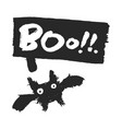 halloween bat with boo speechbubble vector image