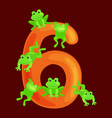 ordinal numbers six for teaching children counting vector image