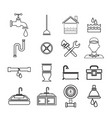 sketch contour set icons plumbing vector image